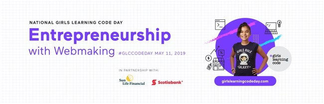 Canada Learning Code is hosting the 6th annual Girls Learning Code Day on May 11, presented by Scotiabank and Sun Life Financial, in over 35 communities all across Canada. (CNW Group/Canada Learning Code)