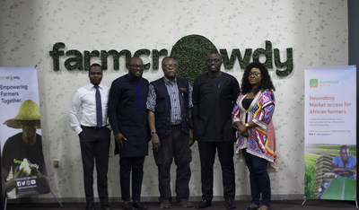 From center; Chairman/CEO Best Foods, Mr. Emmanuel Ijewere, second left, Group CEO/Founder Farmcrowdy Group, Onyeka Akumah, second right, Managing Director Farmgate Africa, Kenneth Obiajulu, First right Co-Founder/CFO Farmcrowdy Group, Akindele Phillips and First left Head of Operations Farmgate Africa, Linda Obi at the partnership announcement event at the Farmcrowdy Group headquarters in Lagos, Nigeria.