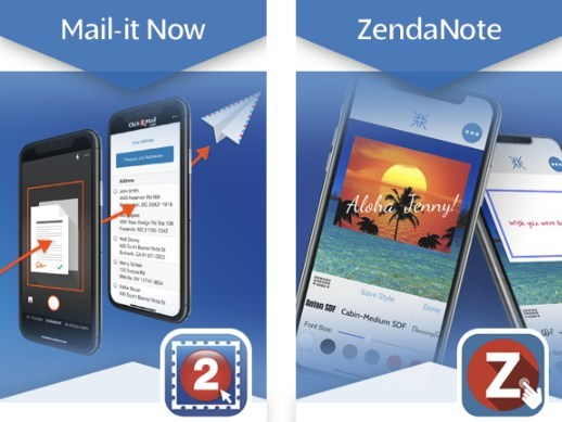 Click2Mail's mobile apps Mail-it Now and ZendaNote preview panels