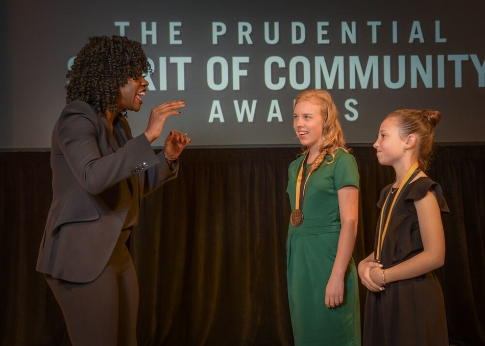 Award-winning actress Viola Davis congratulates Quinn Raffo, 15, of Craigsville (center) and Chloe Orecchio, 11, of Weirton (right) on being named West Virginia's top two youth volunteers for 2019 by The Prudential Spirit of Community Awards. Quinn and Chloe were honored at a ceremony on Sunday, May 5 at the Smithsonian's National Museum of Natural History, where they each received a $1,000 award.