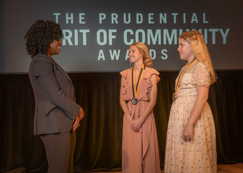 Award-winning actress Viola Davis congratulates Armani McFarland, 15, of Farr West (center) and Gabbie Lundberg, 12, of South Jordan (right) on being named Utah's top two youth volunteers for 2019 by The Prudential Spirit of Community Awards. Armani and Gabbie were honored at a ceremony on Sunday, May 5 at the Smithsonian's National Museum of Natural History, where they each received a $1,000 award.