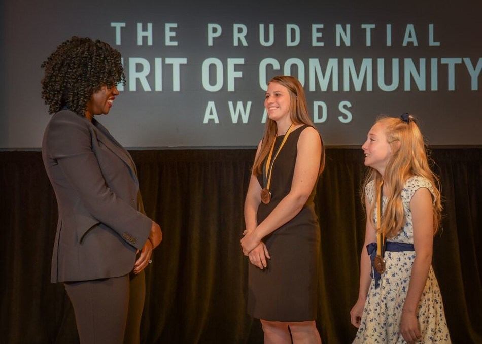 Award-winning actress Viola Davis congratulates Noelle Peterson, 18, of Encampment (center) and Lily Harris, 12, of Green River (right) on being named Wyoming's top two youth volunteers for 2019 by The Prudential Spirit of Community Awards. Noelle and Lily were honored at a ceremony on Sunday, May 5 at the Smithsonian's National Museum of Natural History, where they each received a $1,000 award.