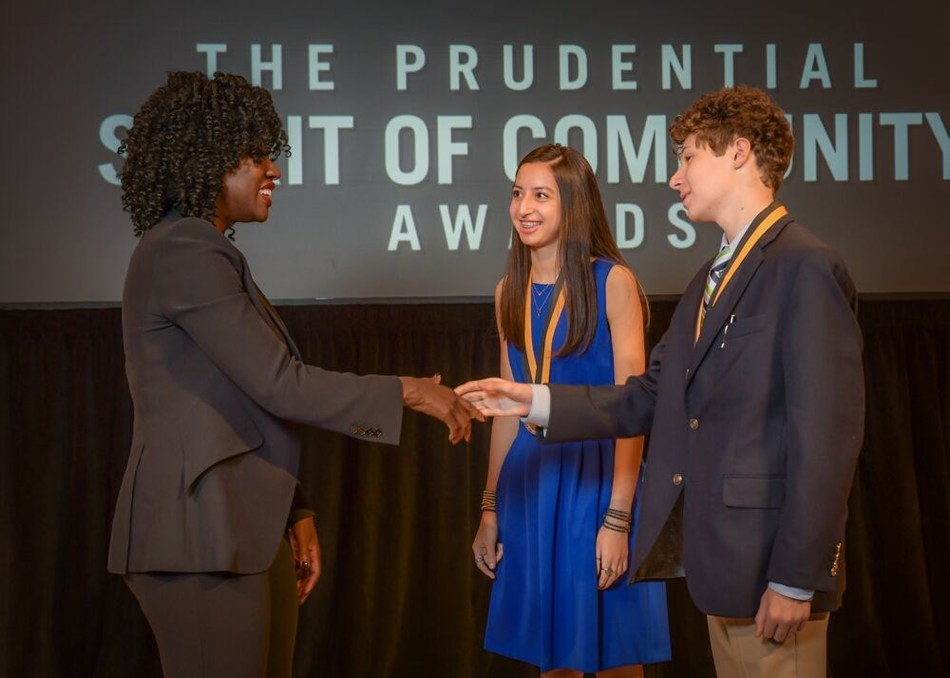 Award-winning actress Viola Davis congratulates Simona Adhikari, 17, of Charlotte (center) and Alexander Fultz, 13, of Pineville (right) on being named North Carolina's top two youth volunteers for 2019 by The Prudential Spirit of Community Awards. Simona and Alexander were honored at a ceremony on Sunday, May 5 at the Smithsonian's National Museum of Natural History, where they each received a $1,000 award.