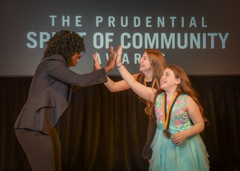 Award-winning actress Viola Davis congratulates Kierra Giarrusso, 18, of Exeter (center) and Emily Raimondi, 11, of Cumberland (right) on being named Rhode Island's top two youth volunteers for 2019 by The Prudential Spirit of Community Awards. Kierra and Emily were honored at a ceremony on Sunday, May 5 at the Smithsonian's National Museum of Natural History, where they each received a $1,000 awa