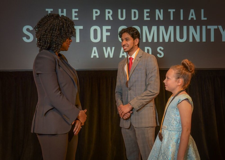 Award-winning actress Viola Davis congratulates Pranav Rajan, 17, of Lincoln (center) and Jorja Boller, 10, of Beatrice (right) on being named Nebraska's top two youth volunteers for 2019 by The Prudential Spirit of Community Awards. Pranav and Jorja were honored at a ceremony on Sunday, May 5 at the Smithsonian's National Museum of Natural History, where they each received a $1,000 award.