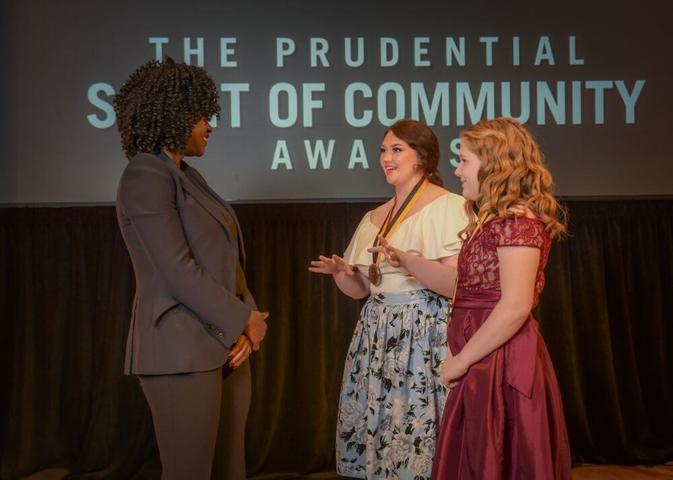 Award-winning actress Viola Davis congratulates Emily Potter, 17, of Dowagiac (center) and Emma Eimers, 13, of New Haven (right) on being named Michigan's top two youth volunteers for 2019 by The Prudential Spirit of Community Awards. Emily and Emma were honored at a ceremony on Sunday, May 5 at the Smithsonian's National Museum of Natural History, where they each received a $1,000 award.
