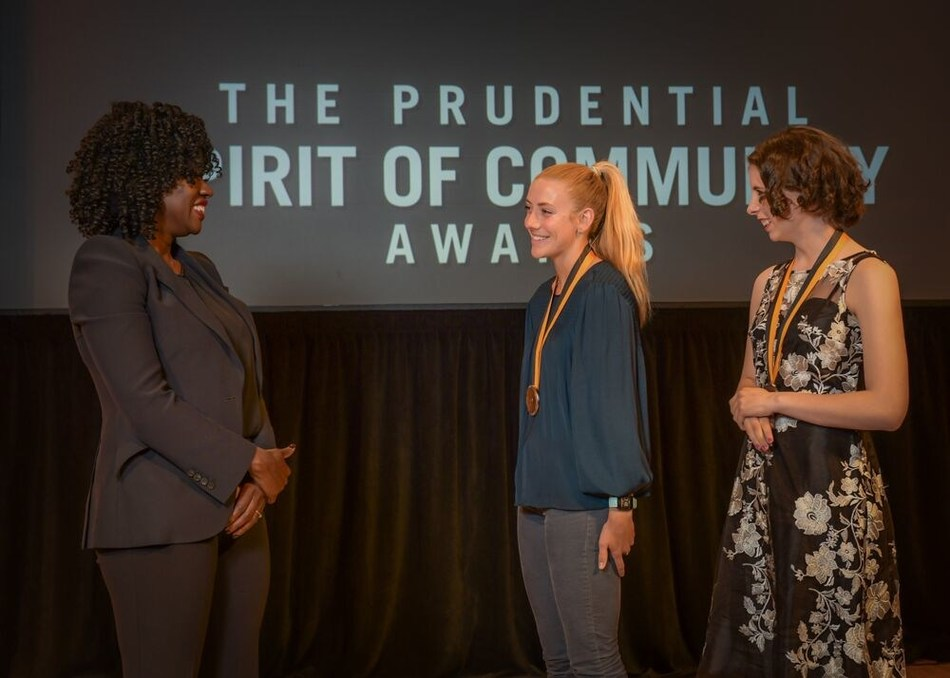 Award-winning actress Viola Davis congratulates Isabel Brennan, 18, of Yarmouth (center) and Rebecca Hatt, 14, of Biddeford (right) on being named Maine's top two youth volunteers for 2019 by The Prudential Spirit of Community Awards. Isabel and Rebecca were honored at a ceremony on Sunday, May 5 at the Smithsonian's National Museum of Natural History, where they each received a $1,000 award.