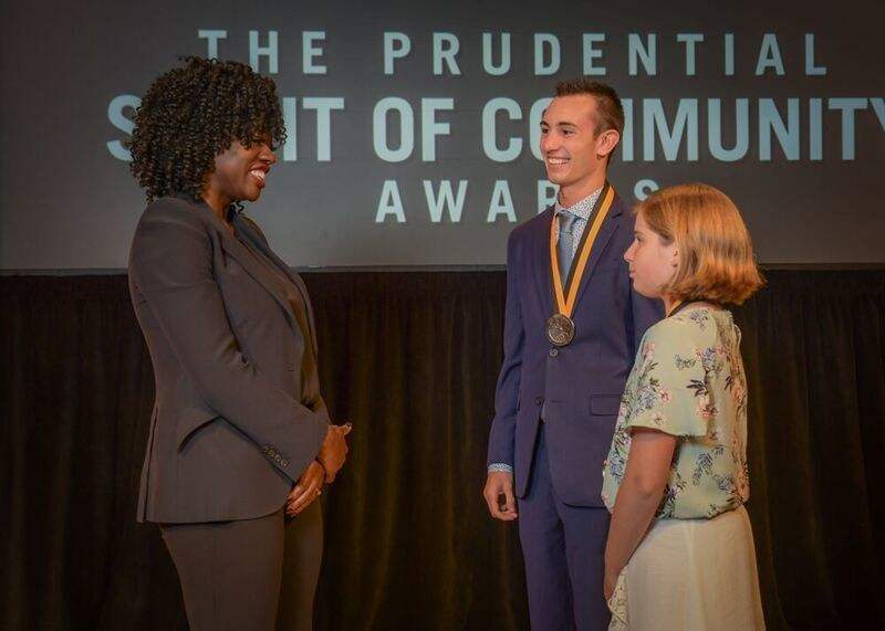 Award-winning actress Viola Davis congratulates Andrew Silsby, 18, of Newfields (center) and Joli Lunderville, 12, of Lancaster (right) on being named New Hampshire's top two youth volunteers for 2019 by The Prudential Spirit of Community Awards. Andrew and Joli were honored at a ceremony on Sunday, May 5 at the Smithsonian's National Museum of Natural History, where they each received a $1,000 award.