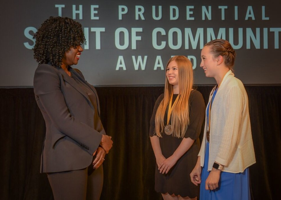 Award-winning actress Viola Davis congratulates Kyla Johnston, 18, of Columbia Falls (center) and Karlee Albertson, 12, of Billings (right) on being named Montana's top two youth volunteers for 2019 by The Prudential Spirit of Community Awards. Kyla and Karlee were honored at a ceremony on Sunday, May 5 at the Smithsonian's National Museum of Natural History, where they each received a $1,000 award.
