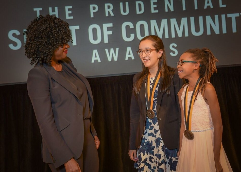 Award-winning actress Viola Davis congratulates Jessica Bradley, 18, of Hoover (center) and Breanna Bennett, 11, of Montgomery (right) on being named Alabama's top two youth volunteers for 2019 by The Prudential Spirit of Community Awards. Jessica and Breanna were honored at a ceremony on Sunday, May 5 at the Smithsonian's National Museum of Natural History, where they each received a $1,000 award.