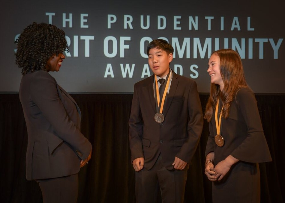 Award-winning actress Viola Davis congratulates Ethan Auyeung, 15, of Los Gatos (center) and Hannah Karanick, 13, of Anaheim (right) on being named California's top two youth volunteers for 2019 by The Prudential Spirit of Community Awards. Ethan and Hannah were honored at a ceremony on Sunday, May 5 at the Smithsonian's National Museum of Natural History, where they each received a $1,000 award.