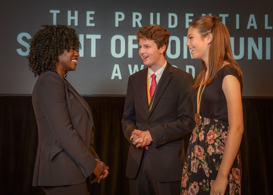 Award-winning actress Viola Davis congratulates Nathaniel Simmons, 18 (center) and Eden Sapien, 13 (right), both of Phoenix, on being named Arizona's top two youth volunteers for 2019 by The Prudential Spirit of Community Awards. Nathaniel and Eden were honored at a ceremony on Sunday, May 5 at the Smithsonian's National Museum of Natural History, where they each received a $1,000 award.
