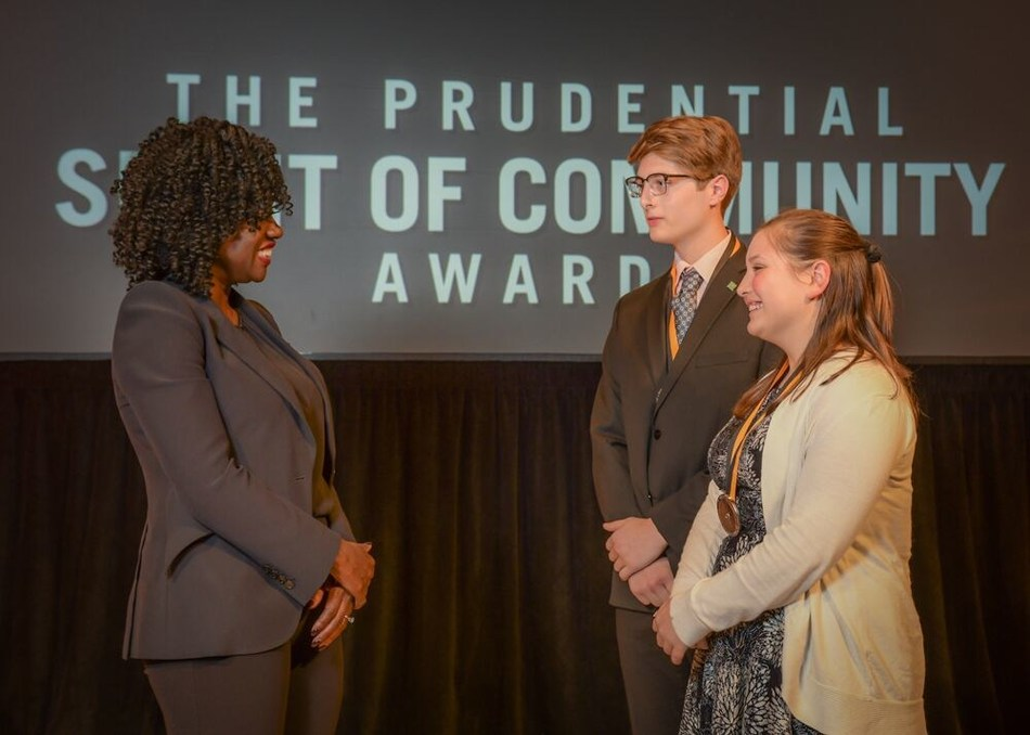 Award-winning actress Viola Davis congratulates Harrison Barnes, 17 (center) and Shelby Farris, 13 (right), both of Bridgeville, on being named Delaware's top two youth volunteers for 2019 by The Prudential Spirit of Community Awards. Harrison and Shelby were honored at a ceremony on Sunday, May 5 at the Smithsonian's National Museum of Natural History, where they each received a $1,000 award.
