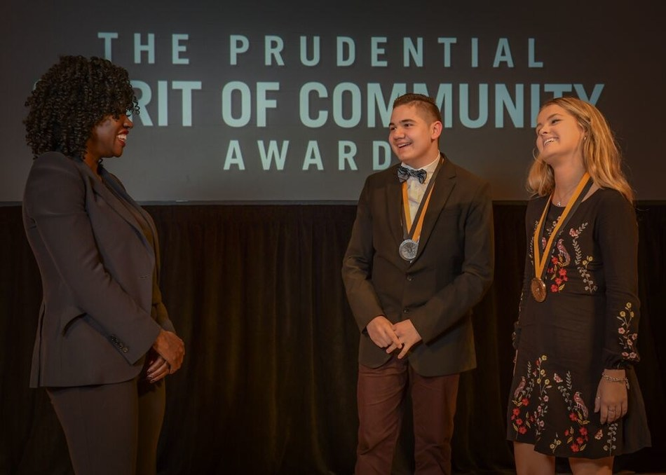 Award-winning actress Viola Davis congratulates Tatum Parker, 18, of Indianapolis (center) and Adrian Huizar, 15, of Michigan City (right) on being named Indiana's top two youth volunteers for 2019 by The Prudential Spirit of Community Awards. Tatum and Adrian were honored at a ceremony on Sunday, May 5 at the Smithsonian's National Museum of Natural History, where they each received a $1,000 award.