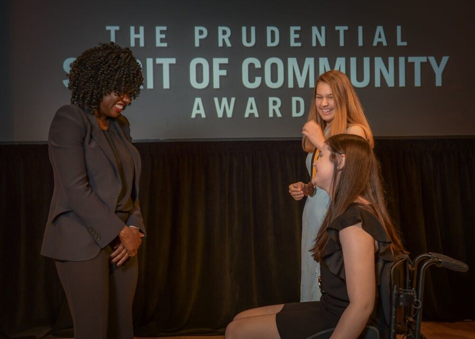 Award-winning actress Viola Davis congratulates Kate Walker, 15, of Ruston (center) and Nikki Leali, 13, of New Orleans (right) on being named Louisiana's top two youth volunteers for 2019 by The Prudential Spirit of Community Awards. Kate and Nikki were honored at a ceremony on Sunday, May 5 at the Smithsonian's National Museum of Natural History, where they each received a $1,000 award.
