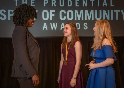Award-winning actress Viola Davis congratulates Carlee Rizzo, 18, of Kenai (center) and Ashley Perry, 14, of Anchorage (right) on being named Alaska's top two youth volunteers for 2019 by The Prudential Spirit of Community Awards. Carlee and Ashley were honored at a ceremony on Sunday, May 5 at the Smithsonian's National Museum of Natural History, where they each received a $1,000 award.