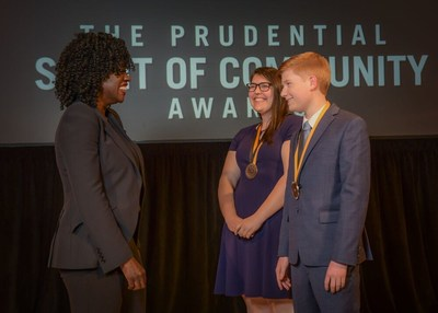 Award-winning actress Viola Davis congratulates Sarah Picker, 17, of Boise (center) and Alexander Knoll, 14, of Post Falls (right) on being named Idaho's top two youth volunteers for 2019 by The Prudential Spirit of Community Awards. Sarah and Alexander were honored at a ceremony on Sunday, May 5 at the Smithsonian's National Museum of Natural History, where they each received a $1,000 award.