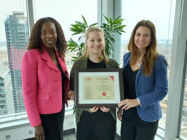 From left to right: Fanny Diasso (Talent Acquisition Specialist), Stéphanie Overy Saulnier (Human Resources Advisor) and Annie Mongrain (Vice President, Human Resources) (CNW Group/Equisoft)