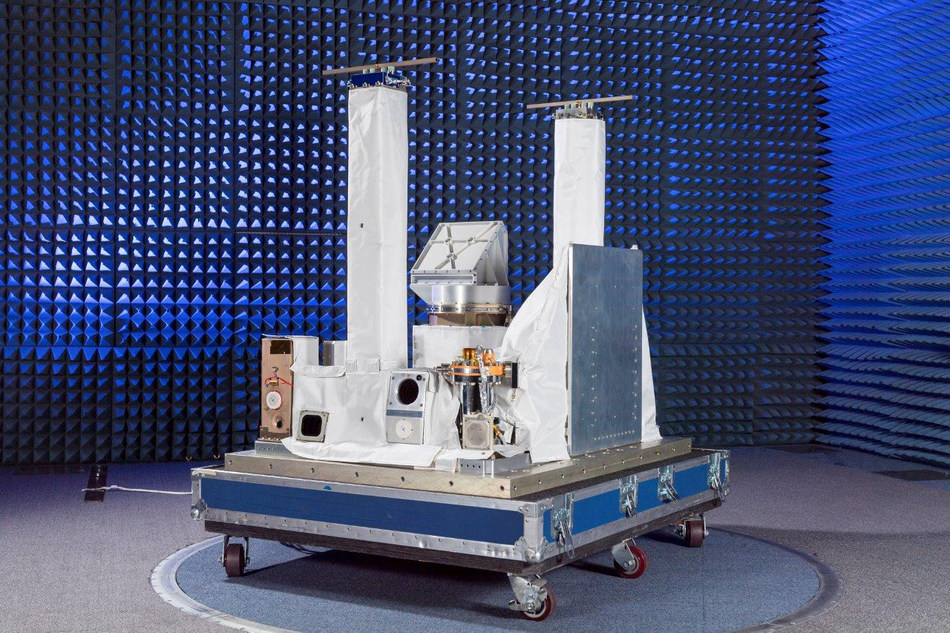 The Space PlasmA Diagnostic suitE (SPADE) experiment (tower-like structures in photo), is shown integrated onto the Space Test Program-Houston 6 (STP-H6) pallet. Developed by the U.S. Naval Research Laboratory Plasma Physics Division, in conjunction with the Spacecraft Engineering Department, SPADE is designed to monitor background space plasma conditions on-orbit the International Space Station (ISS) and provide early warning of the onset of hazardous levels of spacecraft charging.
