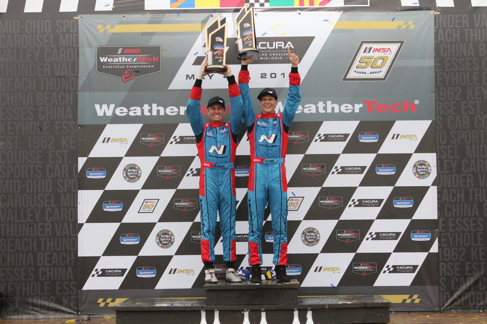Michael Lewis (right) and Mark Wilkins (left) Win Wet and Wild Mid-Ohio 120. First IMSA victory for Bryan Herta Autosport and Hyundai.