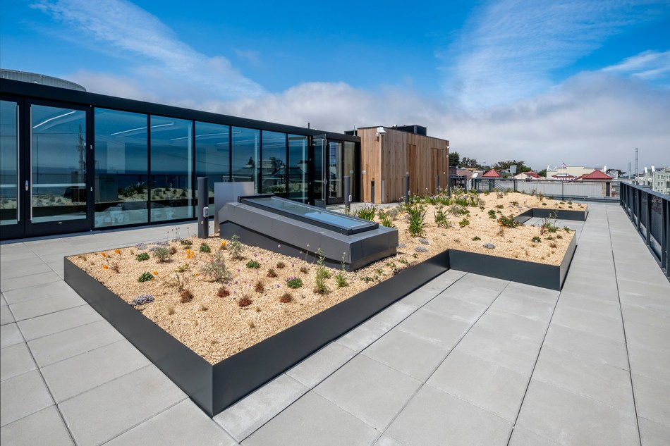 Monterey Bay Aquarium's new Bechtel Family Center for Ocean Education and Leadership features a rooftop native plant garden and conference room. The environmentally sustainable, 25,000-square-foot building houses the aquarium's free education programs, allowing hands-on experiences for all visiting school groups and doubling the number of teens and teachers it can serve.