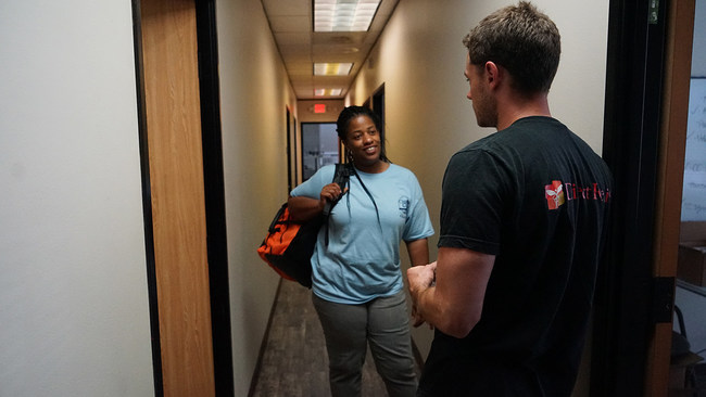 Direct Relief staff deliver emergency medical aid to staff at Christ Clinic in Katy, Texas, in the days following Hurricane Harvey. Christ Clinic and 10 other free and charitable clinics are the recipients of Hurricane Harvery recovery and resiliency funds from Direct Relief. (Photos by Tony Morain / Direct Relief)