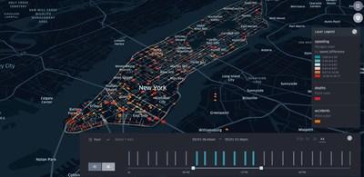 Kepler.gl visualizes the relationship between speeding behavior and crashes in Manhattan (data from Uber Movement Speedsand NYC Open Data)