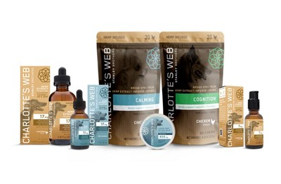 Charlotte's Web hemp-derived CBD Pet product line for canines; chicken flavored hemp-extract oils, dog soft chews with botanical for calming, hips & joints, and cognition. (CNW Group/Charlotte's Web Holdings, Inc.)