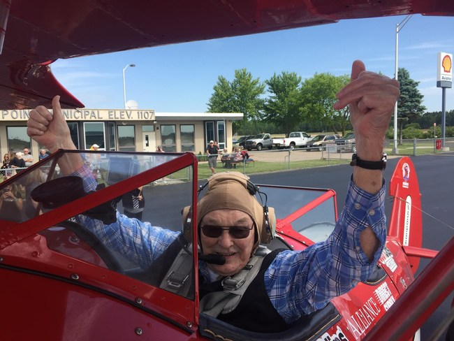World War II veteran Eddie Lamken took his first Dream Flight with AADF in 2016. His experience inspired a community to raise more than $125,000 to purchase the Spirit of Wisconsin, a 1943 Stearman that will be based at Stevens Point Municipal Airport.
