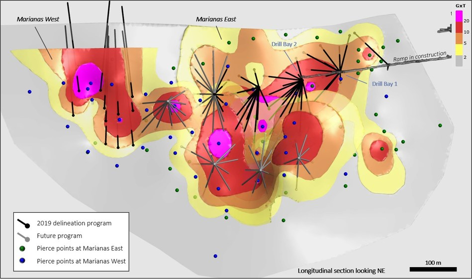 Figure 2 – Isometric view of the Mercedes trend showing the grade x thickness map for the Marianas Veins (CNW Group/Premier Gold Mines Limited)