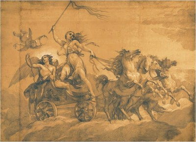 Giuseppe Bezzuloli (1784 - 1855) - Folly driving the chariot of Love L: 4.8 m; H: 3.4 m.