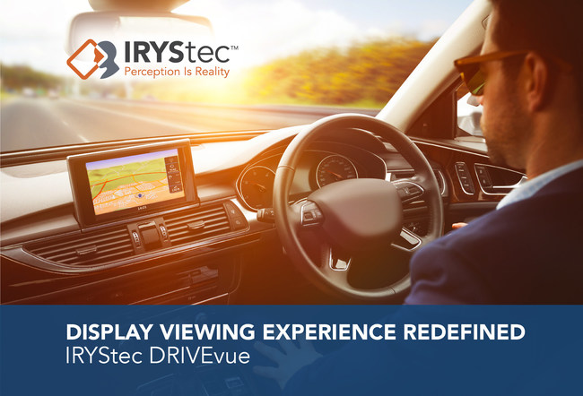 IRYStec DRIVEvue dynamically optimizes automotive display performance by intelligently adapting to the type of content, to the ambient light and to the panel technology; ensuring superior visibility and a safer, more power efficient in-car viewing experience. (PRNewsfoto/IRYStec Software Inc.)