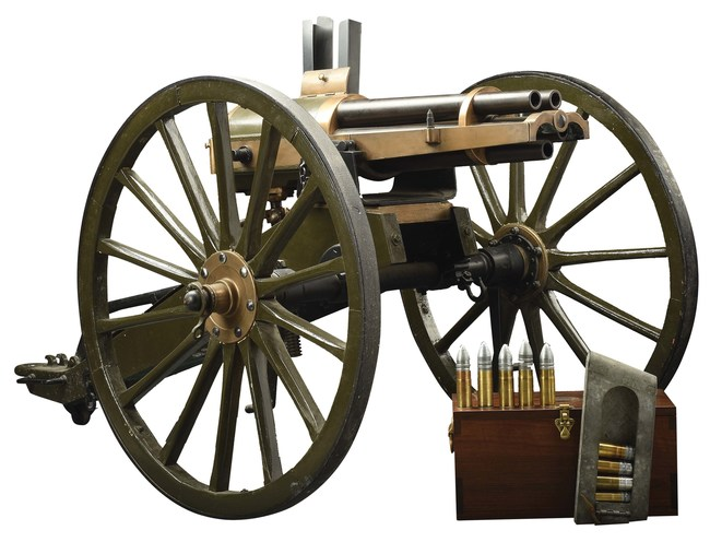 Historic Hotchkiss revolving cannon #1198 used in Spanish-American War, accompanied by 5 reloaded rounds of 37mm ammunition. Former museum provenance. Sold for $132,000 against an estimate of $40,000-$50,000