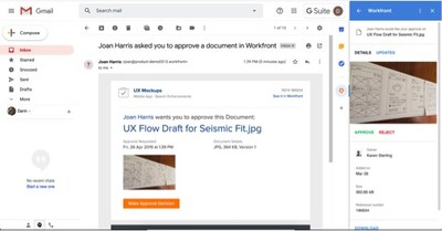 Take action without switching context. Email notifications, such as approvals, allow the user to take immediate action via the Workfront G Suite add-on without having to go into Workfront to complete the approval.