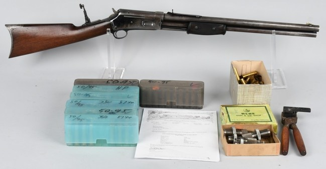 1891 Colt Lightning Express .50-95 rifle with ammunition, loading tools, and factory letter indicating it was originally shipped to Bombay, India. Estimate: $15,000-$20,000