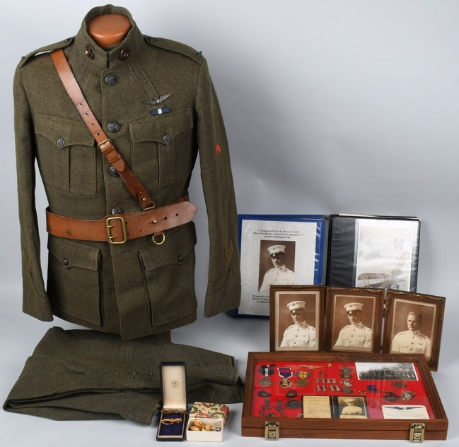 Uniform, medals and extensive career archive of WWI U.S. Marine Corps pilot Everitt R. Brewer, the first USMC pilot to score an aerial kill in combat. Estimate: $15,000-$20,000