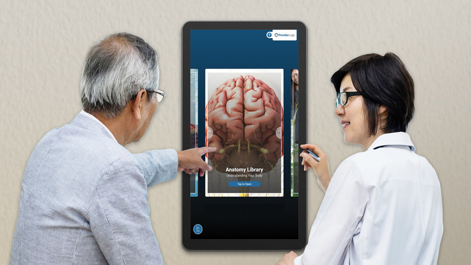 In the neurology exam room, PatientPoint interactive touchscreens offer dynamic, condition-specific multimedia education and 3D anatomicals that help specialists clearly communicate diagnoses. Content from touchscreen devices can also be easily texted and emailed, allowing patients and caregivers to digest information beyond the four walls of the physician office.