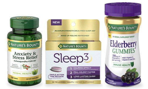 New Nature's Bounty® Anxiety & Stress Relief, Nature's Bounty® Sleep3 and Nature's Bounty® Elderberry Gummies