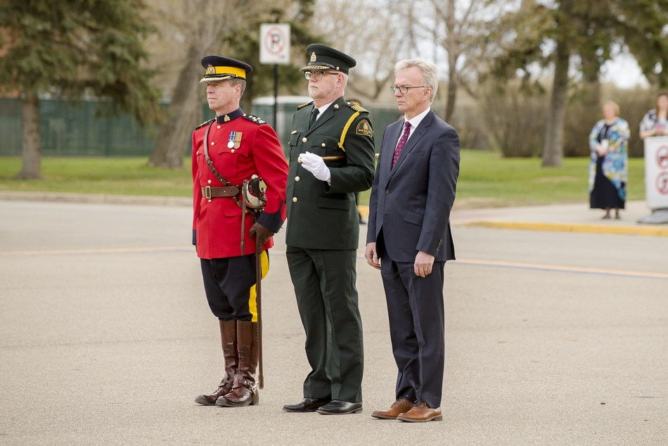 Parliamentary Secretary to the Minister of Fisheries, Oceans and the Canadian Coast Guard, Member of Parliamentary Sean Casey, Director General of Conservation & Protection at the Department of Fisheries and Oceans, Darren Goetze and Commanding Officer of RCMP Depot Division, Assistant Commissioner Jasmin Breton attend the C&P Graduation on May 2, 2019. (CNW Group/Fisheries and Oceans (DFO) Canada)