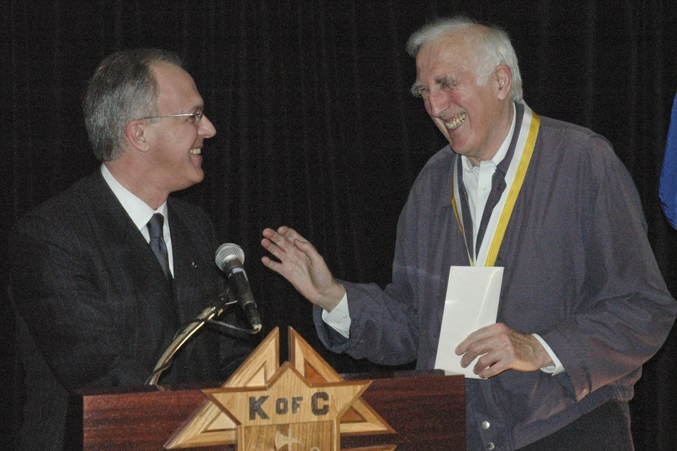 Supreme Knight Carl A. Anderson bestows the Gaudium et Spes medal on Jean Vanier, the Knights of Columbus's highest honor.