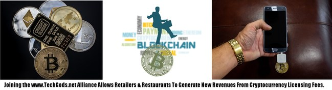 """TechGods.net is about innovation. By marrying retailers and restaurants with Cryptocurrencies, the Alliance allows members to turn the tables on the """"Gigantors"""" of digital business. Together, the Cryptocurrency Alliance has the opportunity to wrest control of the future for the betterment of traditional retailers and restaurants. Anyone getting hurt by Amazon knows they need innovation to stay in the game."""