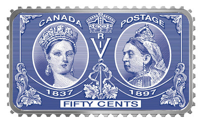 The Royal Canadian Mint's stamp-shaped fine silver coin celebrating  the 200th anniversary of the birth of Queen Victoria.