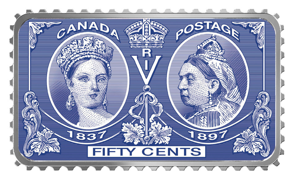 The Royal Canadian Mint's stamp-shaped fine silver coin celebrating the 200th anniversary of the birth of Queen Victoria. (CNW Group/Royal Canadian Mint)