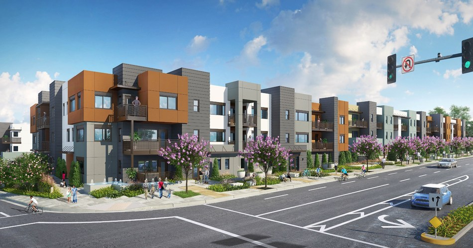 A rendering of the future townhouse and flats community Trumark Homes plans to build on the newly acquired site in Brea.