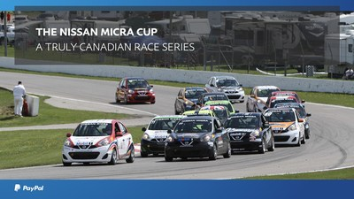Nissan Micras round a corner at Canadian Tire Motorsport Park during the Nissan Micra Cup Race Series. (CNW Group/PayPal Canada)
