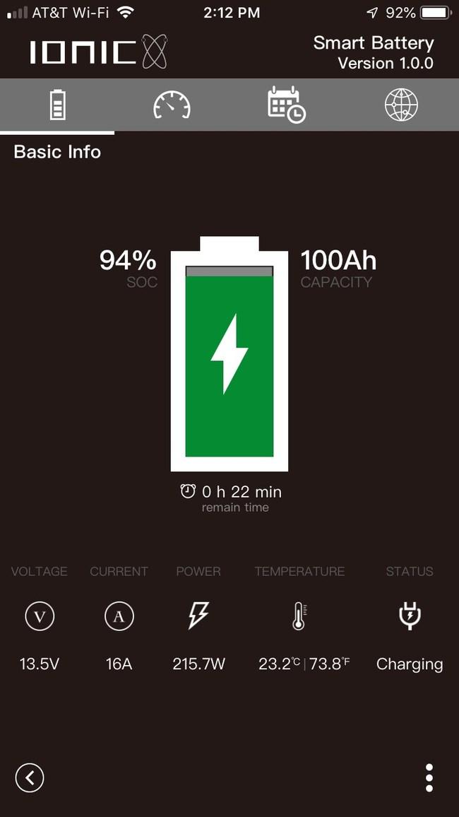 Ionic Batteries app charging 12V lithium battery 100Ah