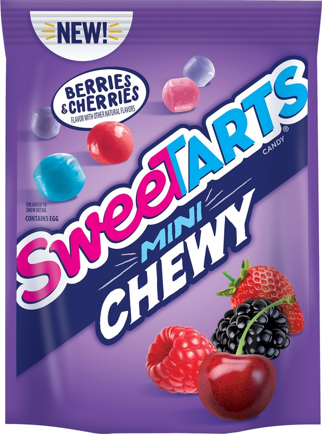 SweeTARTS Mini Chewy Berries & Cherries is an extension of the Mini Chewy line, the classic SweeTARTS flavor fusion in a chewy, coated candy that floods the taste buds with tangy flavor.