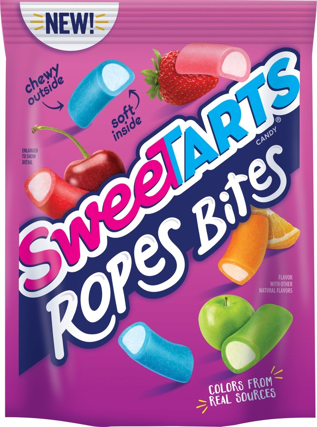 SweeTARTS Ropes Bites offer consumers the opportunity to enjoy the popular Soft & Chewy Ropes in delicious bite-sized pieces, featuring a mix of five fruity flavors and colors packed with a tart, fruit-punch center.