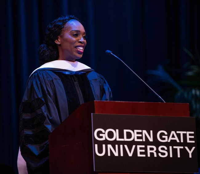 Ebony Frelix Beckwith, Salesforce.org Executive Vice President and Chief Philanthropy Officer and Golden Gate University Alumna, delivered an inspiring keynote speech at the Golden Gate University (GGU) Undergraduate Commencement