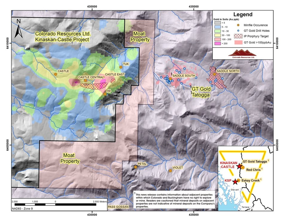 Figure 1: Location of Buckingham's Moat Property relative to Colorado's Kinaskan-Castle Property and (1)GT Gold's (1)Saddle South and (1)Saddle North mineral discoveries at Tatogga. Note east-west alignment of gold and copper anomalies and mineral occurrences from Saddle North and South through to the Castle area. Note that the Castle Central and Castle East targets have yet to be drill tested (CNW Group/Buckingham Copper Corp.)
